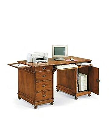 Scrivania, scrittoio, porta pc 4 cassetti 1 anta legno massello ...