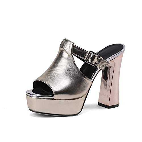 New Mujer 42 Chunky Mules Zapatos Bombas 2018 on Gran De Hebilla Hoesczs Tacones 34 Summer Brand Altos Tamaño Gold Slip xPnEXqIv6