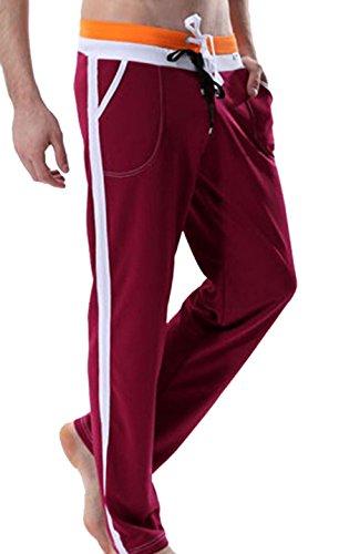 Jeansian Hombres Deporte Jogger Holgados Pantalones Largos Men Sport Baggy Jogger Long Pants MUB010 WineRed