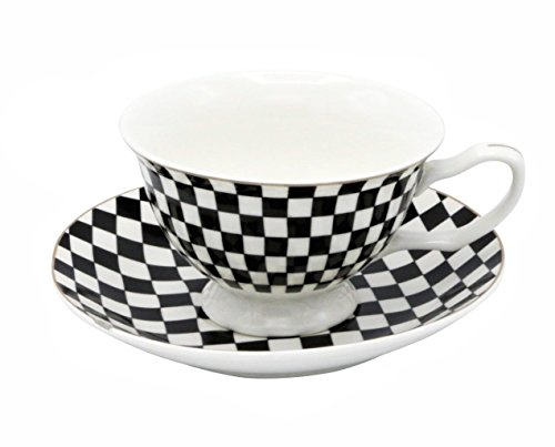 Porcelain China Coffee or Tea Cups Set of 6 Delicate Cups and Saucers (Checkered Flag) - Dinnerware Tea Set