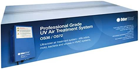 OdorStop UV Air Treatment System (OS72) - Professional Grade 72 watt Air Treatment System That Utilizes Ultraviolet Light to Kill Odors, Mold, Bacteria and Viruses in HVAC Systems