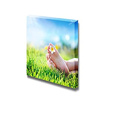 Canvas Prints Wall Art - Flower in Between Toes on Grass | Modern Wall Decor/Home Decoration Stretched Gallery Canvas Wrap Giclee Print. Ready to Hang - 12