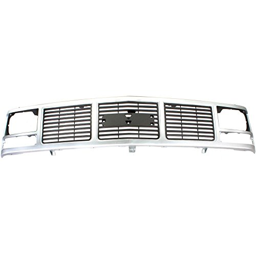 Single Sealed Beam - Grille for GMC C/K Full Size Pickup 88-93 Painted-Silver W/Single Sealed Beam Headlight Holes