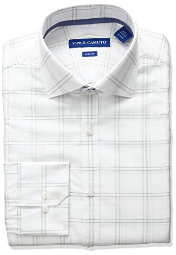 VINCE CAMUTO Men's Slim Fit Spread Collar Dress Shirt, White/Linen Windowpane, 14.5 32/33