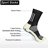 Anti-slip sports socks pair half calf high with thicker cushion /& rubber grip dots for football//athletics//running//hiking//yoga//cycling suitable for men /& woman