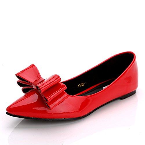 Los Zapatos de Las Mujeres Solo Señalaron la Boca Baja Plana Zapatos de Trabajo de la Manera de Gran Tamaño Red