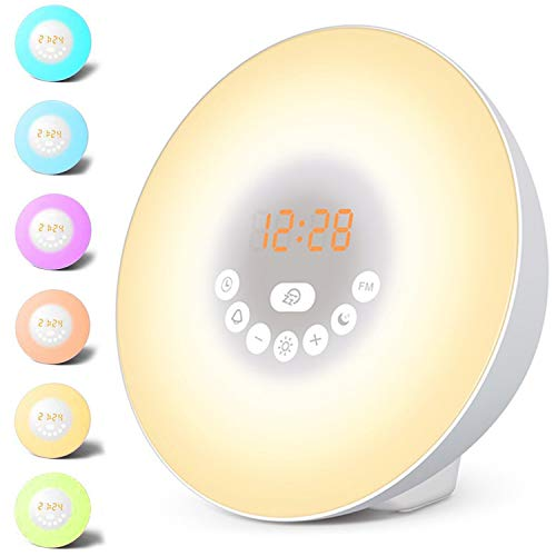 HOOMILY Sunrise Alarm Clock, Wake Up Light LED Digital Clock for Bedrooms with Touch Control 7 Colors Light, 6 Natural Sounds, FM Radio and Snooze/Sunset Simulation