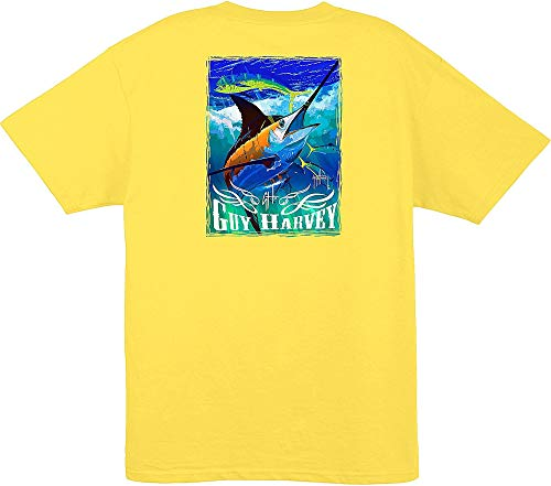 Guy Harvey Mens Marlin & Dolphin T-Shirt Medium Canary Yellow