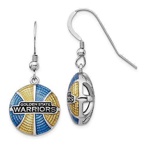 Solid 925 Sterling Silver gold-toneen State Warriors Enameled Basketball Dangle Earrings (14.8mm x 34mm)