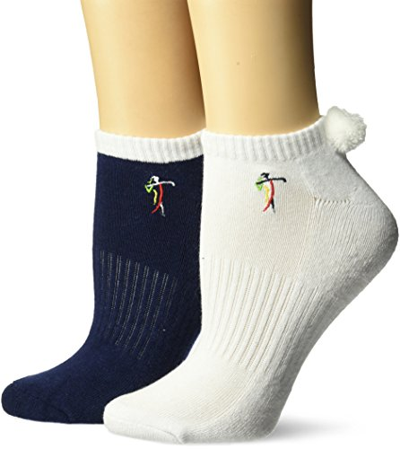 LPGA socks & Legwear Womens LPGA The Pom Socks 2-Pair-Embroidered Logo 9 to 11, Navy, 9-11