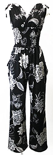 Italian Black Floral Printed Women's Salopette Jumpsuit Made in JAPAN by CHARALIST
