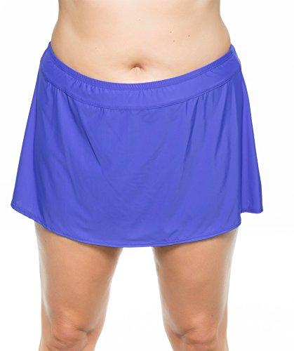 ATHENA Women's Plus-Size Solid Banded Skirted Bikini Bottom, Deep Blue, 22W