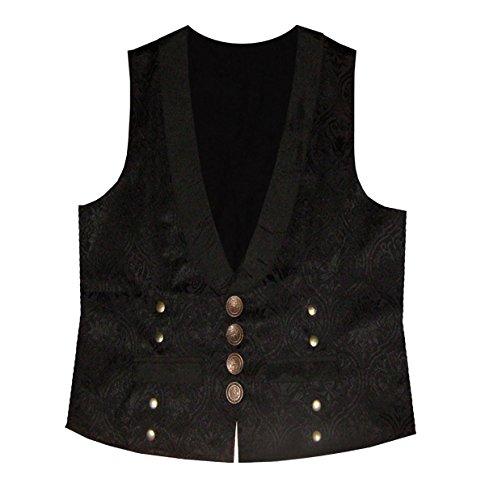 Steampunk Brocade Victorian Edwardian Western Gothic Men's Vest Black Bronze - Steampunk Edwardian