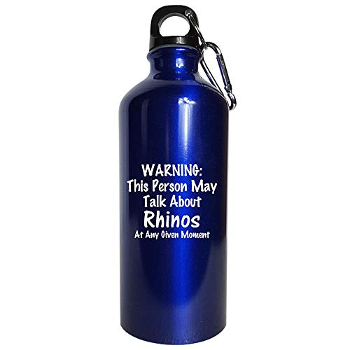 Warning May Talk About Rhinos - africa horn white rhinoceros - Gift Idea - Water Bottle Metallic Blue ()