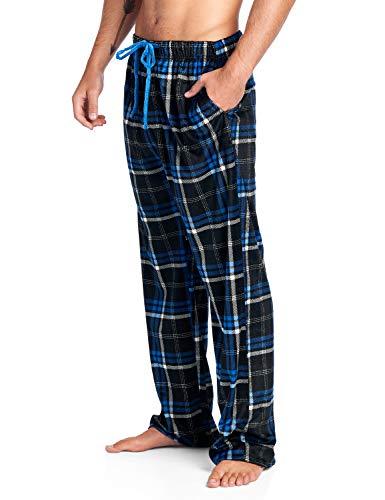 (Ashford & Brooks Men's Mink Fleece Sleep Lounge Pajama Pants - Black/Blue Plaid - 2X-Large)