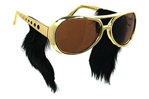 Gold Frame Classic Elvis Costume Sunglasses w/ Sideburns (Elvis Costume For Kids)