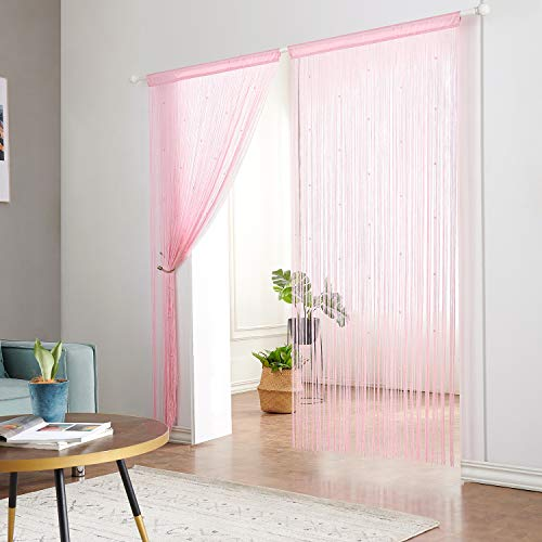 - Taiyuhomes Beaded String Curtains with Pearl Beads Dense Fringe Beaded Door Tassel Curtains (39x79,Pink)