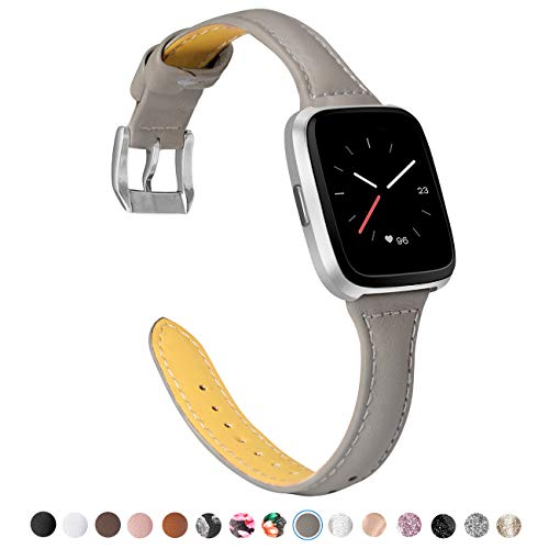 TOYOUTHS Leather Strap Compatible with Fitbit Versa Bands, Slim Genuine Leather Wristbands Replacement for Versa Lite Special Edition Versa Classic Accessories Pins Gray+Rose Gold Buckle