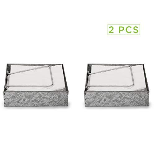 Mind Reader Galvanized 2 Pack, Flat Storage Organizer with P