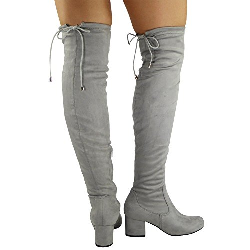 Boots Thigh Heel High Knee Womens Low Lace Ladies 3 Size 8 Grey Long The Shoes Over Up HxqY4n