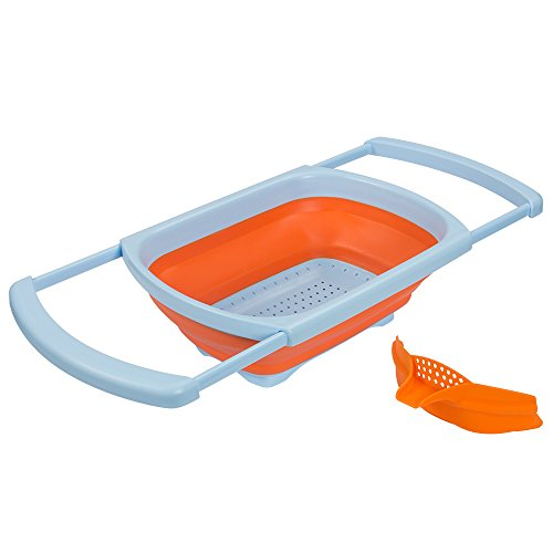 Ouchan Collapsible Colander Over the Sink Colander with Extendable Handles - Collapsible Strainer with Free Bonus Clip on