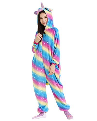 DRESHOW Meisjes Eenhoorn Pyjama Onesie Dieren Kostuum voor Kinderen
