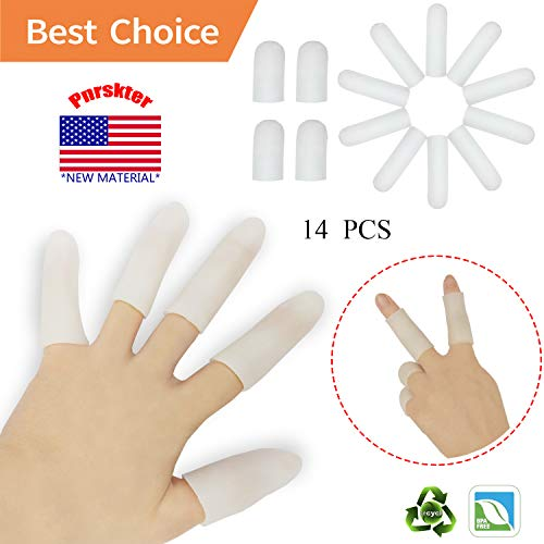 ger Protector Support(14 PCS) New Material Finger Sleeves Great for Trigger Finger, Hand Eczema, Finger Cracking, Finger Arthritis and More. (Small Size) (White, Small) ()