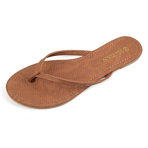 Mu Dan Womens Flip Flat Flat Thong Sandal (9 (B) M US, Tan)
