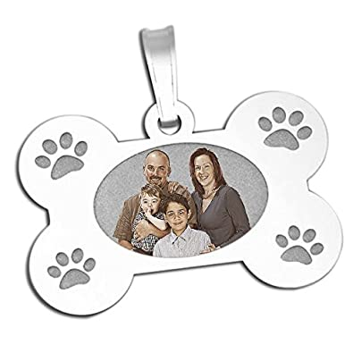 PicturesOnGold.com Photo Engraved Dog Bone Photo Pendant White Solid 14K Yellow or Sterling Silver in 3 Sizes