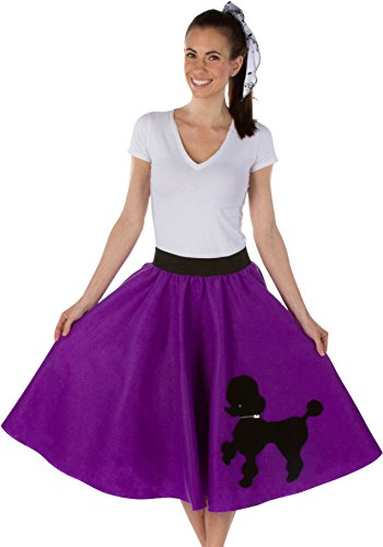 Kidcostumes Adult Poodle Skirt with Musical Note Printed Scarf Purple