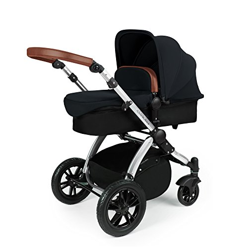 Ickle Bubba Stomp V3 All In One Baby Travel System With Isofix Base| Black on Silver Chassis