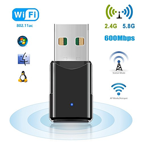 USB Wifi Adapter, 600Mbps Dual Band 2.4G/5.8G Mini Wireless Network Dongle/Adapter Network Card for Desktop Laptop PC Support Windows XP/Vista/7/8/10, Linux 2.4/2.6 and Mac OS X 10.4-10.11