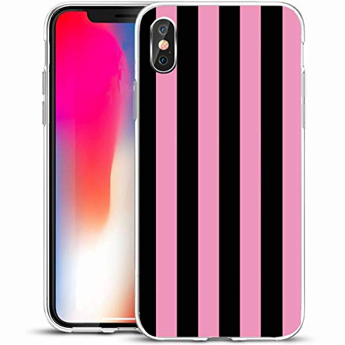 "LifeCO Custom Phone Case Cover for iPhone X/XS 5.8"",Fun Bold Pink Black Stripe Amp Sherbet Abstract Pattern Colors Preppy Awesome Bright Design,Anti-Scratch Protective Soft Rubber Gel/TPU"