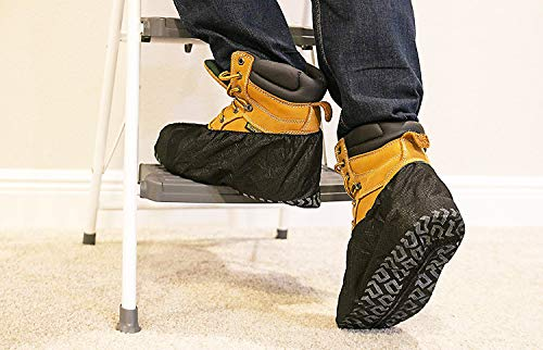 ShoeBoss 100 PACK #1 Non-Slip Black Shoe Covers - Perfect For Realtors & Contractors | Durable - Disposable - Recyclable & Industrial Quality by ShoeBoss (Image #2)