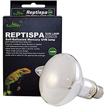 Reptispa UV Sun Lamp 100 Watts - UVB & UVA Self-Ballasted Mercury Vapor Lamp