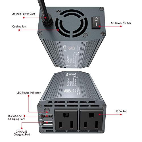 BESTEK 300W Power Inverter DC 12V to 110V AC Car Inverter with 4.2A Dual USB Car Adapter (Gray) by BESTEK (Image #3)