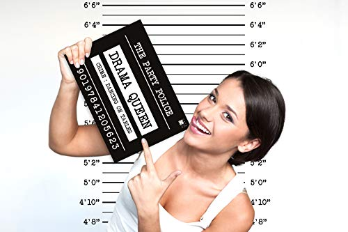 Mugshot Photo Booth Set - 30 Funny Birthday Bachelorette Signs - Includes Back Drop