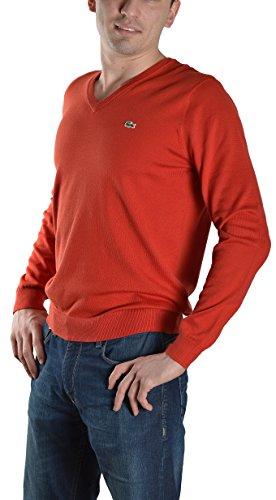 Lacoste Men's GLC Cotton Jersey V-Neck Sweater, Cinnabar/Cake Flour White, L