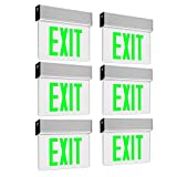 LEONLITE LED Edge Lit Green Exit Sign Single Face with Battery Backup, UL Listed, AC120V/277V, Ceiling/Left End/Back Mount Emergency Light for Hotel, Restaurant, Hospitals, Pack of 6