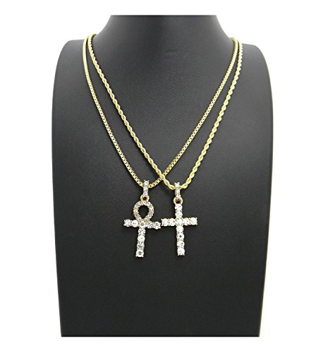 MENS ICED OUT EGYPTIAN ANKH CROSS (KEY OF LIFE) BOX CHAIN NECKLACE SET HIP HOP (24