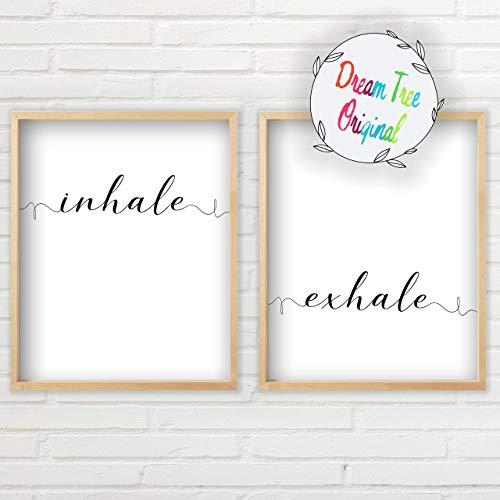 Inhale Exhale Wall Art - Yoga Art Set (11x14 inch Unframed Prints, Typography Art, Minimalist Wall Art, Great Gift, Unframed Farmhouse Sign Set, Yoga Wall Set Art Set of 2)