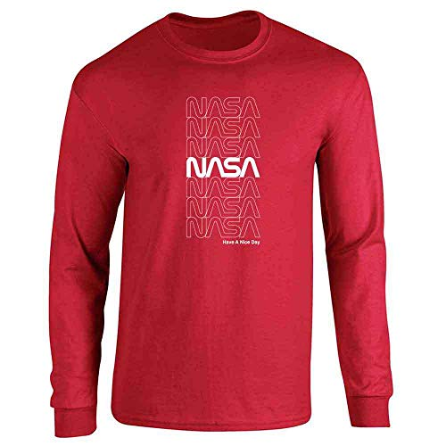 NASA Approved Retro Repeating Worm Logo Red 2XL Long Sleeve T-Shirt