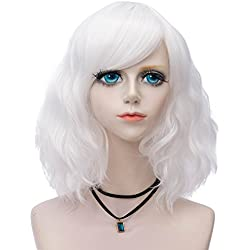 Probeauty Sweety Collection Lolita 40CM Short Curly Women Lolita Anime Cosplay Wig + Wig Cap (White)