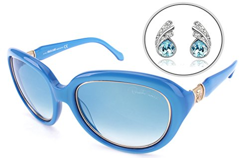 (Roberto Cavalli AUTHENTIC Oval Womens Sunglasses with Free Silver Plated Earrings - Scratch Resistant Mirrored Lens, Full Rim - 100% UV Protection 56mm (Blue - RC781S 87W))