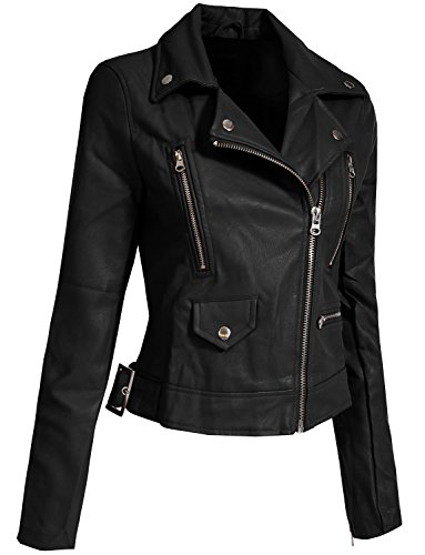 J. LOVNY Womens Fitted Faux Leather Zip Up Long Sleeves Rider Jacket with Adjustable Belt