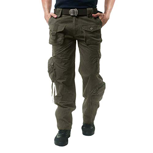 CRYSULLY Men's Winter Cotton Casual Sport Hiking Army Cargo Wild Combat Multi Pockets Work Trousers Army Green