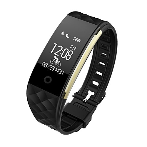 Toprime Fitness Tracker,App-Enable Waterproof Bluetooth 4.0 OLED Touch Screen Smart Wristband,Heart Rate and Sleep Monitor for Android and IOS, Black