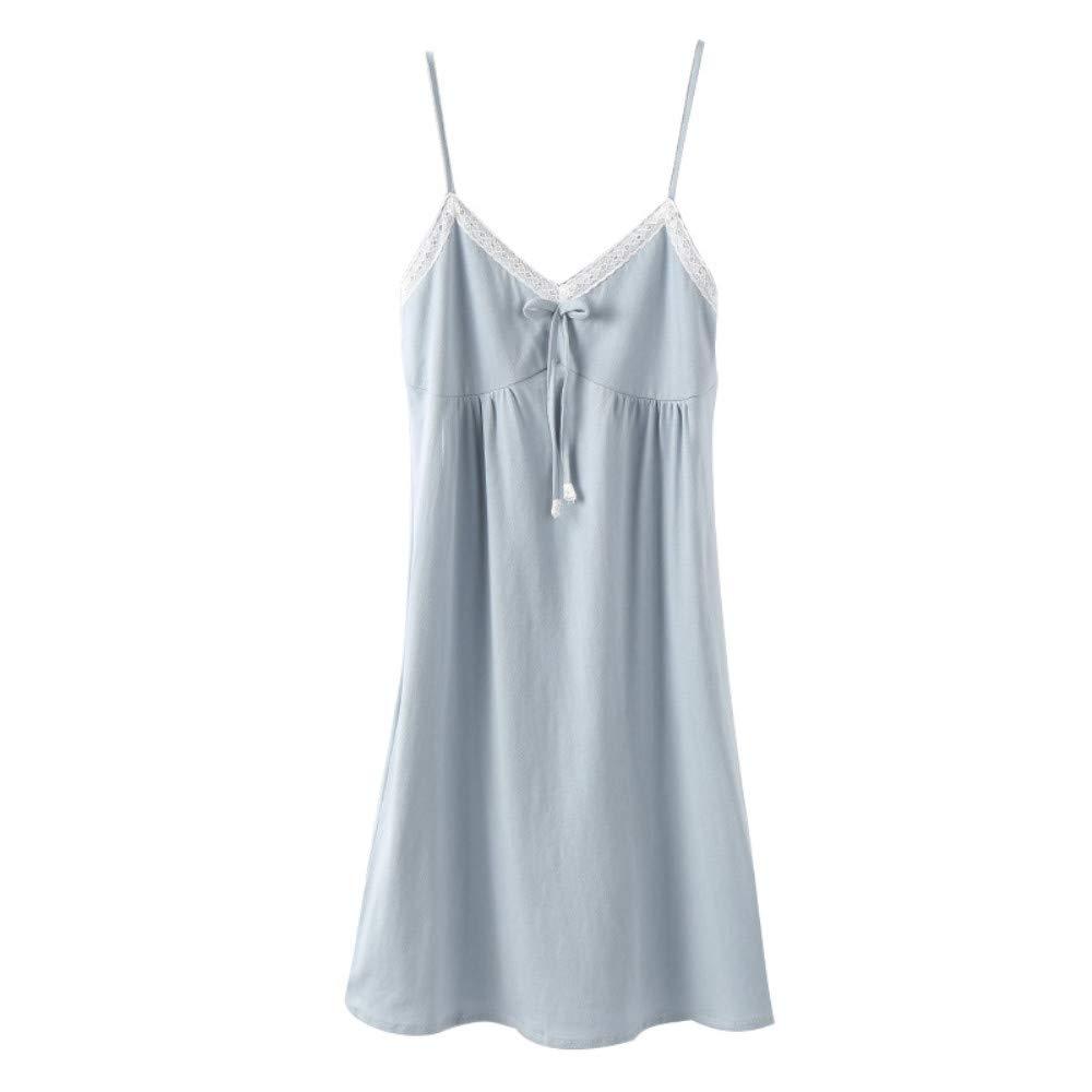 bluee Guyi Ladies Sexy Sling Pajamas VNeck Cotton Nightdress