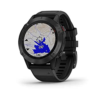 Garmin fenix 6 Pro, Premium Multisport GPS Watch, Smaller-Sized, features Mapping, Music, Grade-Adjusted Pace Guidance and Pulse Ox Sensors,Black w/Black Band ,Black (010-02158-03)