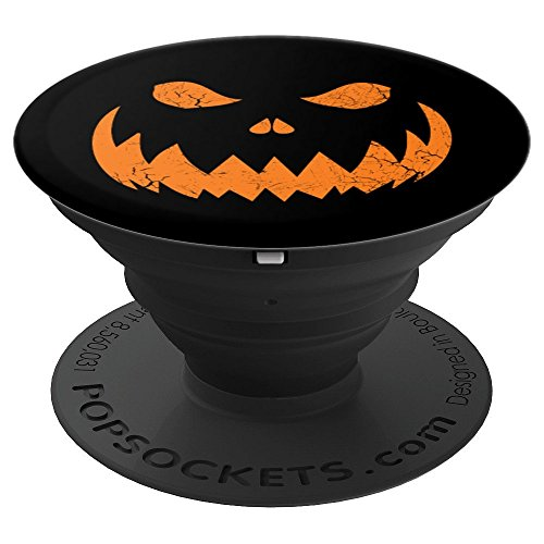 Sinister Distressed Halloween Jack O Lantern Face - PopSockets Grip and Stand for Phones and Tablets -